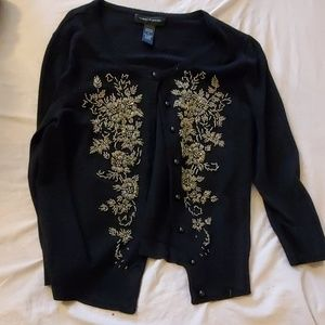 Black beaded sweater. Retro or vintage style.